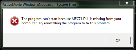 MFC71.DLL is missing from your computer: исправление ошибки